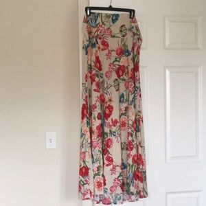 Long flared floral print skirt